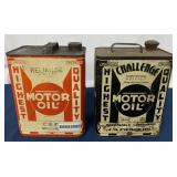 (2) Two Gallon Challenge & Refined motor oil cans