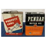 (2) Two Gallon Perfect Lube & Penbar Oil cans