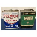 (2) Two Gallon Premium & Cities Svc. Oil cans