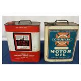 (2) Two Gallon Penn Drake & Champlin oil cans