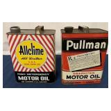 (2) Two Gallon Allclime & Pullman Motor oil cans