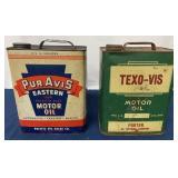 (2) Two Gallon Pur Avis & Texo-Vis Motor Oil cans