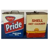 (2) Two Gallon Motor Oil can & Dry Cleaner can