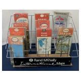 Rand McNally maps rack w/ nine paper maps