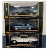 lot of 3 Maisto 1/18 scale cars in ind. Boxes