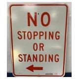 No Stopping or Standing single sided sign