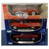 (3) Motor Max 1/18 scale die cast cars in boxes