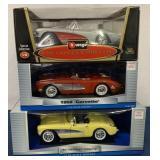 (3) Motor Max & Burago 1/18 scale die cast cars