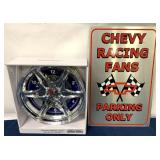 Plastic Chrome Wheel Clock & Chevy Racing sign
