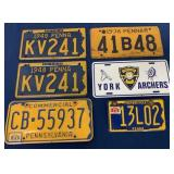 (5) PA & York license plates 1936, 1949 others