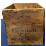 Wooden box for a 25 lb can of Gargoyle Mobiloil