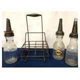 lot of 3 Glass Motor Oil Bottles w/ carrier