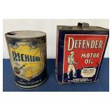 lot of 2 Motor Oil Cans Defender & Richlube