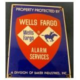 Wells Fargo Alarm Services porcelain sign