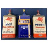 lot of 3 Mobil & Sunoco oil cans