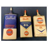 Lot of 3 Gulf Oil Cans