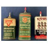 (3) OK & Conoco oil cans & Pep Boys Lighter fluid