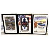 lot of 3 Corvette framed posters