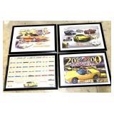 lot of 4 Corvette framed posters