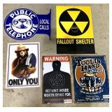 lot of 5 contemporary metal signs