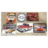 lot of 6 contemporary metal signs
