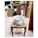 Vintage Chair With Large Ceramic Pot