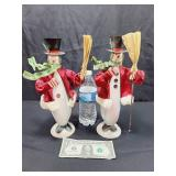 Tin Snowman Candle Holders