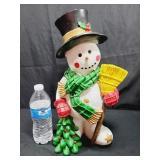 Ceramic Snowman Green Scarf