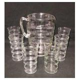 Vintage Ringed Glass Pitcher Tumblers Set