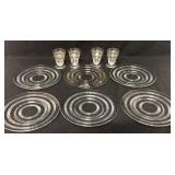 10pc Vintage Glass Ringed Plates & Stems
