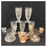 8pc Iris & Herringbone Glass Lot