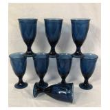 8 Vintage Dark Navy Glass Goblets