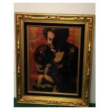 Vintage Angelo Agazzi Foil Art Man w/ Child