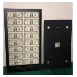 16 One Dollar Bills Uncut Sheet Dept of Treasury