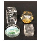 4 Crystal Glass Paperweights Lot