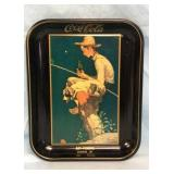 Drink Coca Cola Boy Fishing Metal Tray
