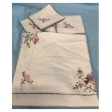 Old Hand Stitched Table Cloth & 4 Napkins