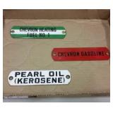 PETROLIANA - VINTAGE CHEVRON PORCELAIN PUMP TAGS