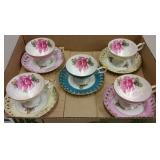1950s ROYAL HALSEY LUSTREWARE CUPS & SAUCERS