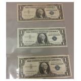 (3)  1957 ONE DOLLAR SILVER CERTIFICATES