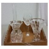 WATERFORD CRYSTAL VASES & WINE GLASS