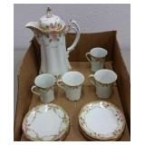 ANTIQUE NIPPON CHOCOLATE POT, CUPS & SAUCERS