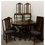 MID-CENTURY DINING TABLE W/ (6) CHAIRS & LEAF