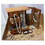 JEWELRY BOX W/ ETCHED GLASS DOORS &COSTUME JEWELRY
