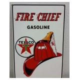 1986 TEXACO FIRE CHIEF GASOLINE PORCELAIN ADV SIGN