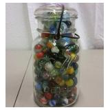 GLASS LID BALL JAR FULL OF VINTAGE MARBLES