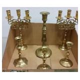 BRASS CANDELABRA SET & CANDLESTICKS