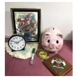 Miscellaneous items-piggy bank, thermometer more