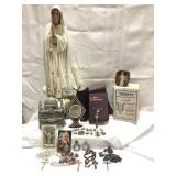 Lot of religious items including a bag of