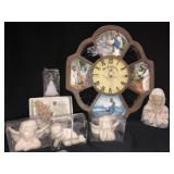 Lot of religious items including a clock, statues
